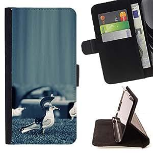 BullDog Case - FOR/Samsung Galaxy S5 V SM-G900 / - / Funny Sparta Seagull Bird /- Monedero de cuero de la PU Llevar cubierta de la caja con el ID Credit Card Slots Flip funda de cuer