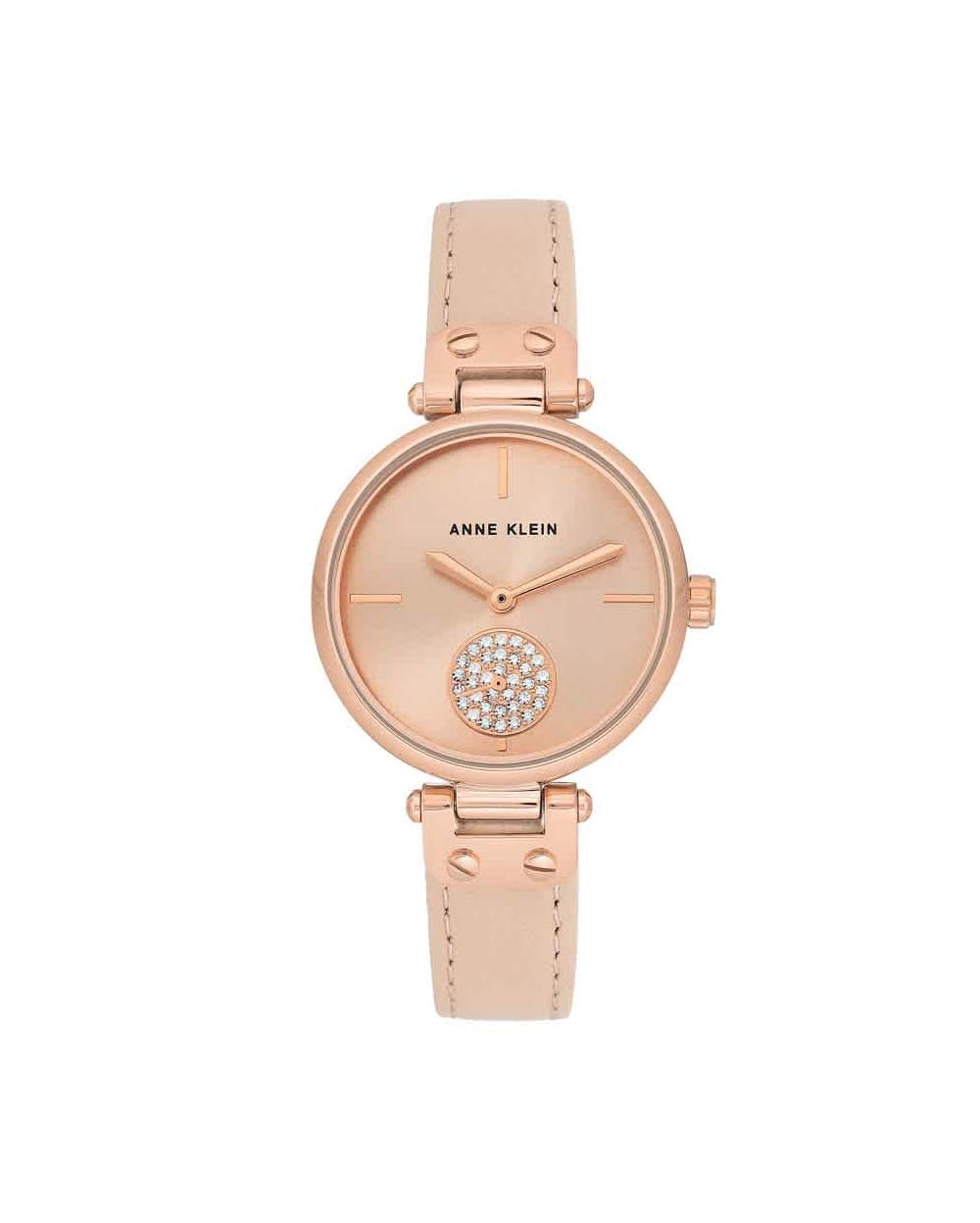 Anne Klein Women's AK/3380RGLP Swarovski Crystal Accented Rose Gold-Tone and Blush Pink Leather Strap Watch by Anne Klein