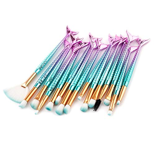New-look 15 mermaid makeup brush set eye shadow brush lip brush blush brush shadow brush