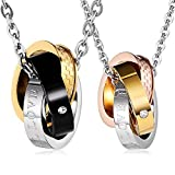 Aienid Stainless Steel Couple Necklace for Men and Women Eternal Love Pendant Neckalce with Chain