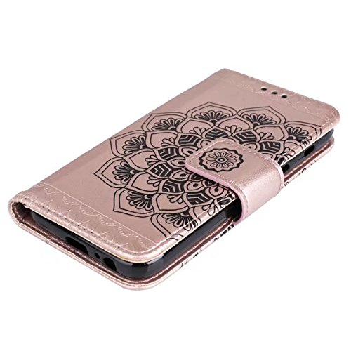SRY-1 [Correa para la muñeca] Cartera de cuero de la PU Premium Flip Funda de soporte para Samsung Galaxy On7 2016 / J7 Prime ( Color : Gray ) Rose Gold