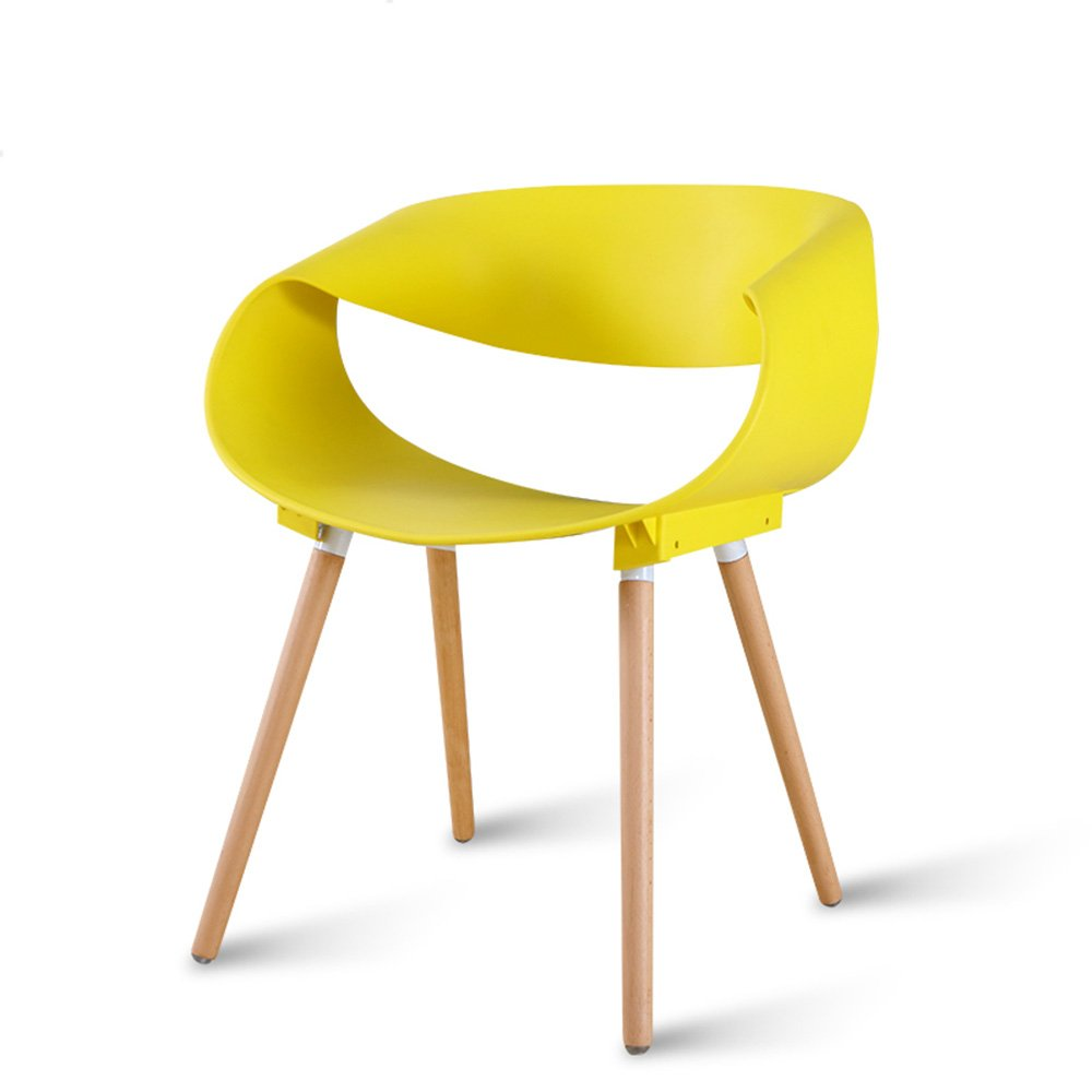 Home desk and chair / restaurant creative leisure chair / modern simple plastic stool / back chair ( Color : Yellow )