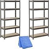 Muscle Rack UR301260PB5P-SV Silver Vein Steel Storage Rack, 5 Adjustable Shelves, 4000 lb. Capacity, 60'' Height x 30'' Width x 12'' Depth (2-Pack) with Cleaner Cloth