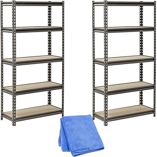 Muscle Rack UR301260PB5P-SV Silver Vein Steel Storage Rack, 5 Adjustable Shelves, 4000 lb. Capacity, 60'' Height x 30'' Width x 12'' Depth (2-Pack) with Cleaner Cloth by Muscle Rack