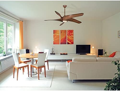 Minka Aire F905L-SL Artemis XL5-62 Inch Ceiling Fan with Light Kit, Silver Finish with Silver Blade Finish with Etched Opal Glass