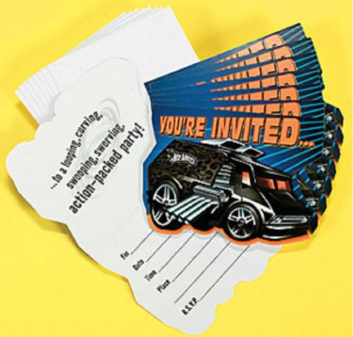 Hot Wheels High Speed Birthday Party Invitations 8 Per Package (Hot Wheels Party Invitations compare prices)