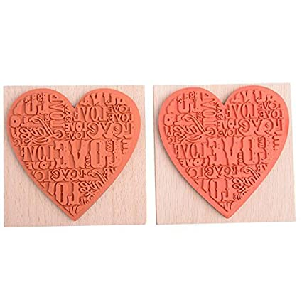Ioffersuper Wooden Rubber Love Heart Stamp for Diary Scrapbooking Card Making DIY Craft