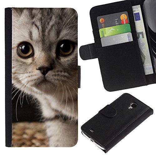 EuroCase - Samsung Galaxy S4 Mini i9190 MINI VERSION! - kitten American shorthair wirehair - Cuero PU Delgado caso cubierta Shell Armor Funda Case Cover