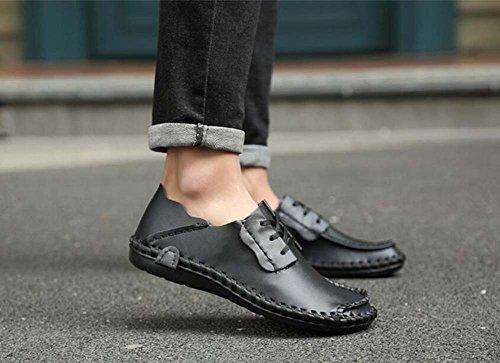 Pump Business Casual Zapatos de cuero Slip On Loafer Hombres Retro Toe Redonda Color Puro British ShoeLace Plate Zapatos Conducir Zapatos Eu Tamaño 38-47 Black