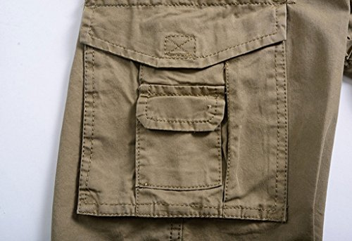 YangguTown YGT Men's Elastic Waist Cleaning Cargo Pants Lightweight Cotton Workwear-pockets