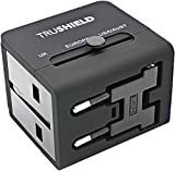 TruShield Universal WorldWide International All-in-One Travel Adapter Adaptor Wall Power Plug Charger, Dual USB Port, For USA UK EU AUS, With Black Stylish Pouch