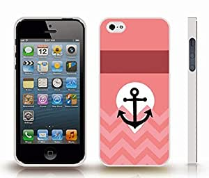 iStar Cases? iPhone 5/5S Case with Chevron Pattern Pink/ Peach Coral White Stripe Black Anchor , Snap-on Cover, Hard Carrying Case (White)