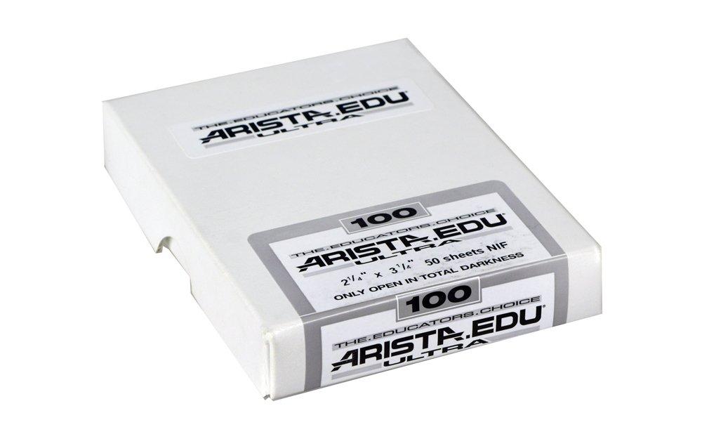 ARISTA 1901350 EDU Ultra Black & White Film ISO 100 2.25X3.25, 50 Sheets