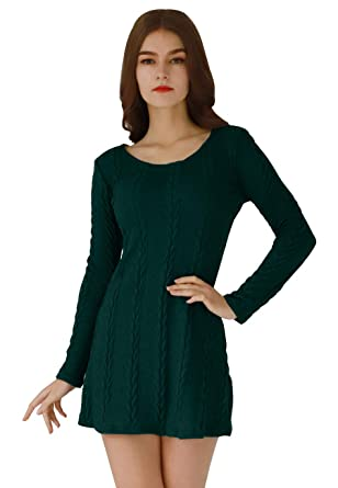27ef7285b29 OMZIN Women s Cable Pullover Sweater Dress Long Sleeve Tunic Tops Plus Size