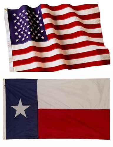 5×8 Embroidered American Flag & 5×8 Texas Flag American Made Nylon For Sale