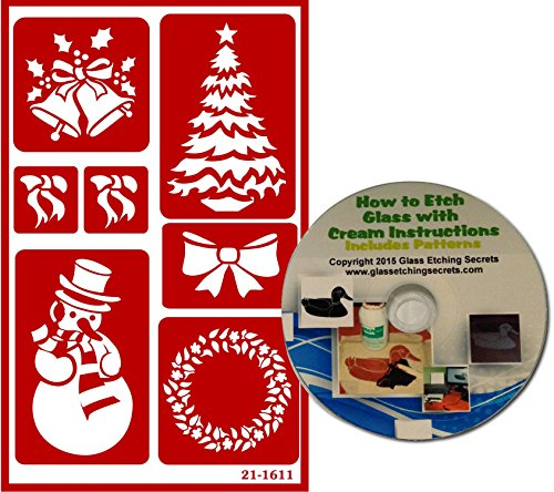 (Christmas Stencils with Bells, Bows, Tree, Snowman & Wreath, Reusable + Free How to Etch CD )