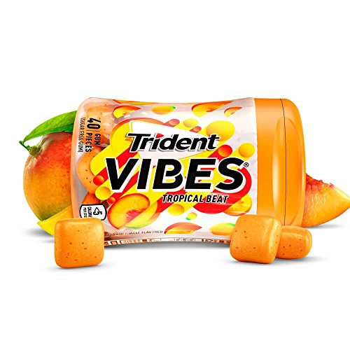 Trident Vibes Tropical Beat Sugar Free Chewing Gum - 6 Bottles (240 Pieces Total)