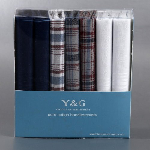 Discount Gift Idea 7 Pack Hankies Mens Cotton With Presentation Box MH1029 One Size Blue by Y&G (Image #1)