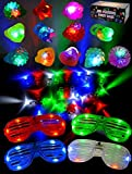 JOYIN 60 Pieces LED Light Up Toy Party Favour Party Bag Fillers Classroom Price – 44 LED Finger Lights, 12 LED Flashing Bumpy Rings and 4 Flashing Slotted Shades Glasses