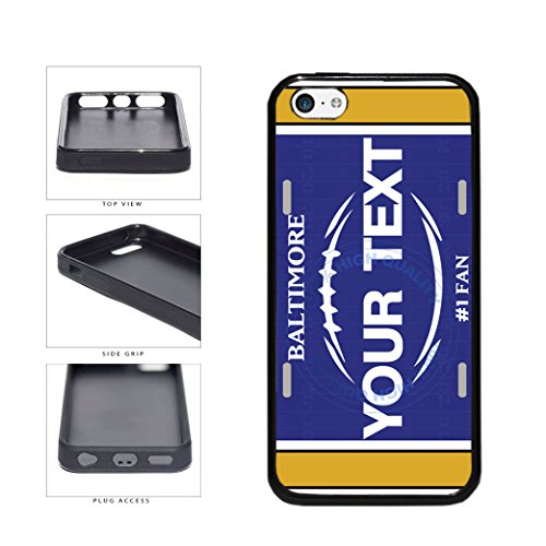(BleuReign(TM) Personalized Custom Name Football Baltimore License Plate TPU RUBBER SILICONE Phone Case Back Cover For Apple iPhone 5c)