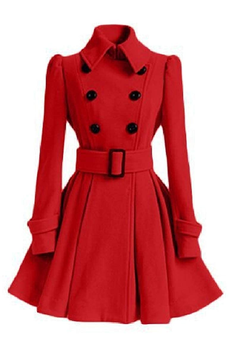 Red Nicelly Womens Lapel Collar Silm Fit Wool Blend Mid Pleated Dress Trench Coat