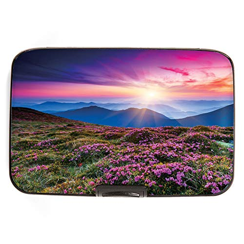 Fig Design Group Sunset with Flowers RFID Secure Data Theft Protection Credit Card Armored Wallet