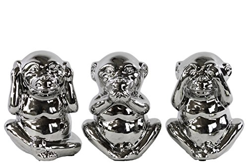Standing Monkey No Evil (Hear/Speak/See) Figurine with Polished Chrome Finish (Assortment of 3), Silver (Monkey See No Evil Hear No Evil)