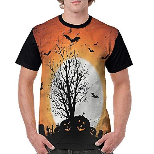 Women's Short Sleeve Shirts,Vintage Halloween,Bats Pumpkins S-XXL Tops for Lady Girls