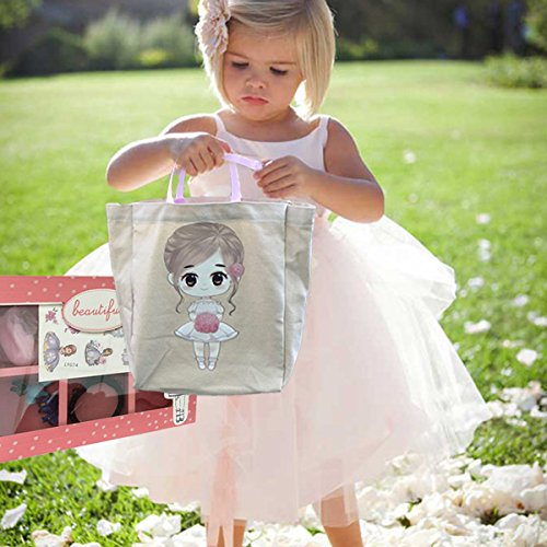 FLOWER Girl Wedding Birthday Christmas Favors Gift Tote Bag Cotton with Beautiful Wood Trinket Box full of toys favors girls jewelry headbands by Global Huntress (Image #2)