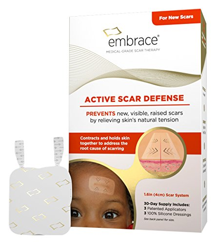 Embrace Scar Treatment, Silicone Sheets for New Scars with Active Scar Defense, Small 1.6 inch Sheets, 3 Count, Initial Half Treatment (30 Day Supply) by Embrace (Image #1)'