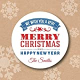 We Wish You Merry Christmas and Happy New Year Personalized Christmas Envelop Seals
