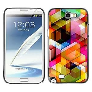 Caucho caso de Shell duro de la cubierta de accesorios de protección BY RAYDREAMMM - Samsung Galaxy Note 2 N7100 - 3D Polygon Pattern Maze Dimensional