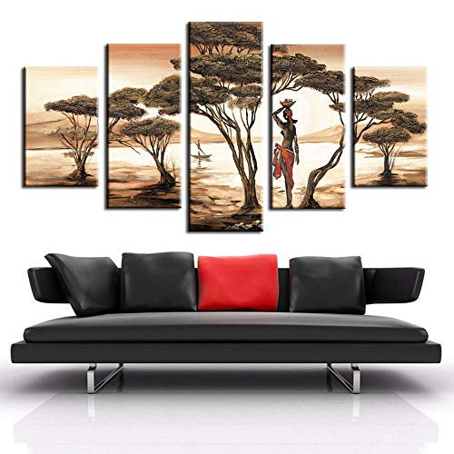 csfhfh Framed 5 Panels Canvas African Woman Canvas Paintings for Living Room African Sunset Trees Scenery Modular Pictures Seascape Wall Posters 5Print On Canvas-20X35Cmx2 20X45Cmx2 20X55Cmx1