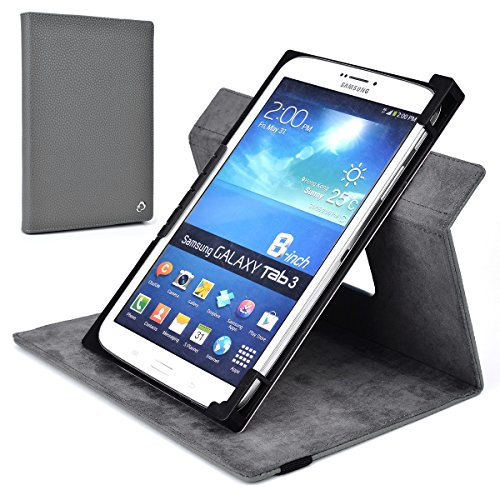 Gray Rotating Case Fits Michley Tivax MiTraveler 7-inch Capacitive Tablet | Solid Portrait or Landscape Orientation 360 Stand Cover