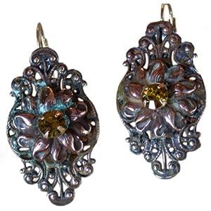 Victorian Floral Filigree Earrings - Swarovski Crystals 26
