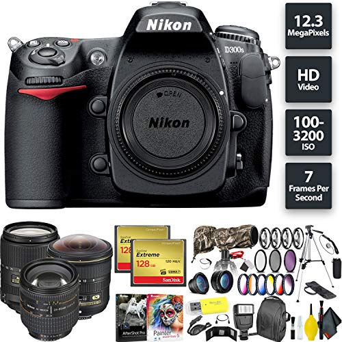 Nikon D300S DSLR Camera (Body Only) + 256GB Memory Card + Nikon 8-15mm, 24-85mm, 18-300mm Lenses International Model