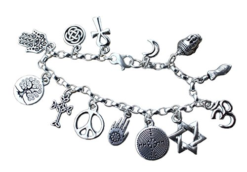 Deluxe World Religions Coexist Peace Bracelet- Silver Plated Charms, Heavy Sterling Silver Chain - Size Small (7 inches)