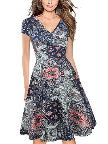 oxiuly Women's V-Neck Cap Sleeve Floral Casual Work Stretch Swing Dress OX233 (M, Multi)