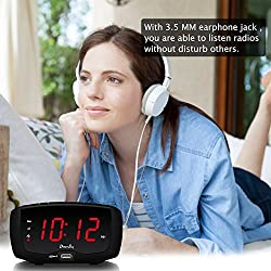 "DreamSky Digital Alarm Clock Radio with FM Radio, Dual USB Ports for Charging, 3.5 mm Headphone Jack, Snooze, Adjustable Alarm Volume,1.4"" Large LED Number Display, Sleep Timer"