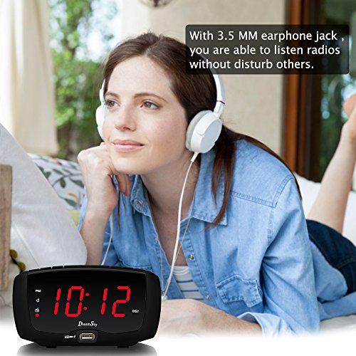 DreamSky Digital Alarm Clock Radio with FM Radio, Dual USB Ports for Charging, 3.5 mm Headphone Jack, Snooze, Adjustable Alarm Volume,1.4 Large LED Number Display, Sleep Timer