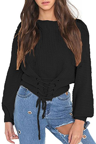 Sunfury Womens Stylish Off Shoulder Knitted Long Sleeve Crop Sweater Top Black One Size