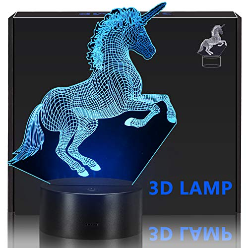 KISPTMIN Unicorn 3D Night Light, Decorative LED Bedside Table Lamp for Kids Room Xmas Birthday Gifts for Boys Girls Child