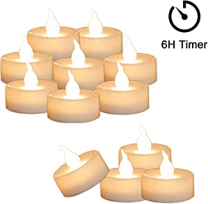 Cozeyat 12pcs Tea Lights Led Flickering with Timer (6 Hours on 18 Hours Off) Mini Flameless Candles TeaLights Battery Operated Warm White for Wedding Reception Christmas Party Home Decorations