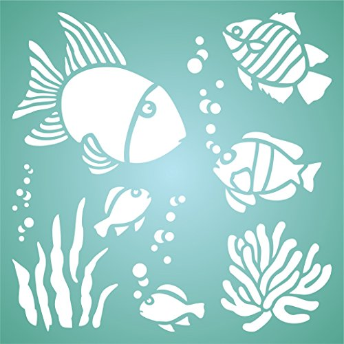 """TROPICAL FISH STENCIL (size 8.5""""w x 8.5""""h) Reusable Stencils for Painting - Best Quality Scrapbooking Wall Art Décor Ideas - Use on Walls, Floors, Fabrics, Glass, Wood, Posters, and -"""