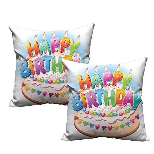 Iridescent cloud Square Pillowcase Birthday Decorations for Kids Cartoon Happy Birthday Party Image Cake Candles Hearts Print Suitable for Hair and Skin Health W23 x L23 Multicolor