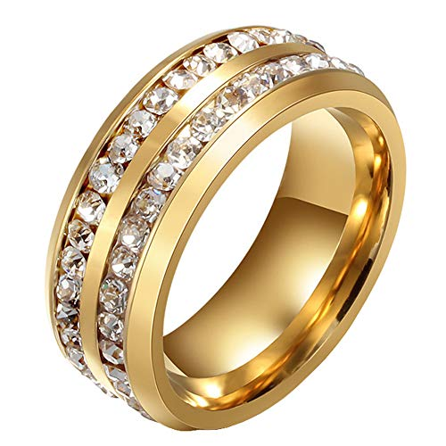 - Mens Wedding Bands Classic 8MM Titanium Stainless Steel Plated 18K Gold Double Row CZ Crystal Womens Promise Anniversary Rings High Polished Finish Comfort Fit Size 10