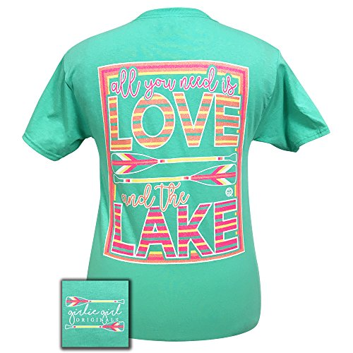 Lake Short Sleeve Shirt - Girlie Girls All YOu Need is Love & the Lake Short Sleeve T-Shirt (X-Large)
