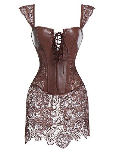 Women's Faux Leather Steampunk Corset Dress Hollow Lace Bustier Skirt Overbust Shoulder Straps Cincher Lingerie - Bustier Dress Skirt