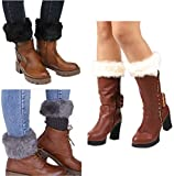 Women Winter Faux Fur Boot Cuffs Cover Crochet Knitting Short Leg Warmers 3 Pack (A)