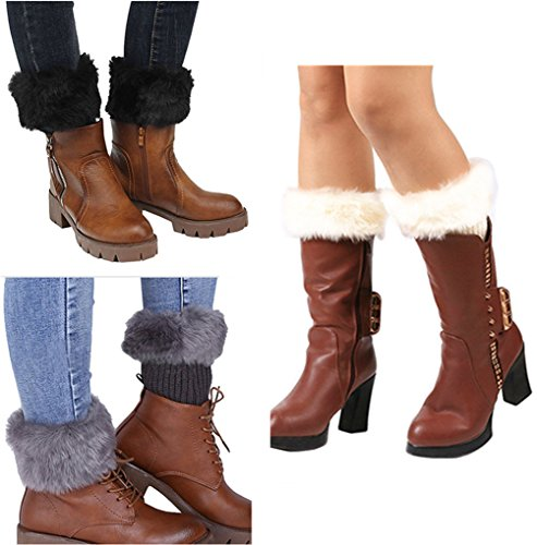 Women Winter Faux Fur Boot Cuffs Cover Crochet Knitting Short Leg Warmers 3 Pack (A)
